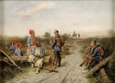 Prussian sentries guarding over captured French Zouaves, Franco-Prussian War