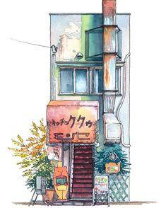 "Just uploaded a new piece in my ""Tokyo Storefront"" watercolour illustration series: #09 Kitchen Kuku in Kichijyouji"
