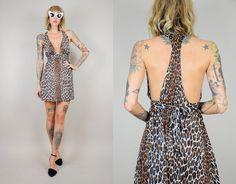 Leopard print 60's SLIP DRESS mini DEEPV by NOIROHIOVINTAGE