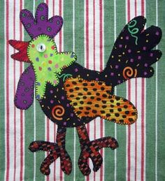 Free Chicken Applique Patterns | Detail of sheep and rooster appliqué