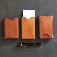 Sleek Leather Business Card Case