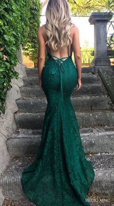 EMERALD GREEN MYTHICAL - LACE #FORMAL / #PROM #DRESS BY STUDIO MINC #BACKLESS