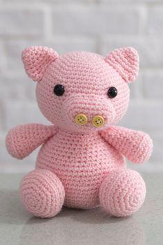 Crochet Percy Pig Amigurumi with button nose, crochet pig, plush toy, toy, cute, handmade, birthday, christmas, baby, kids by CrochetJP on Etsy