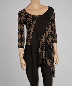 Look what I found on #zulily! Black & Brown Geometric Handkerchief Tunic - Women & Plus by Sole Dione #zulilyfinds, $32 !!
