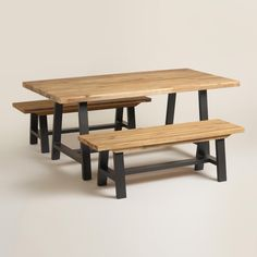 Enjoy alfresco meals gathered around our rustic dining table. It features an aluminum A frame made to withstand the elements and a distressed acacia wood top with unique, visible knots in each piece.