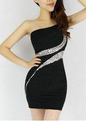 $10.89 Diamonds One-Shouler Sexy Style Sleeveless Polyester Dress For Women