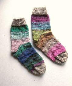 Electric Forest Striped Hand Knit Socks - Womens size 7.5 - 8 - 8.5. $36.00, via Etsy.