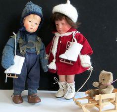 Käthe Kruse Schlittschuhe Leder für 35-37cm Puppe so süß