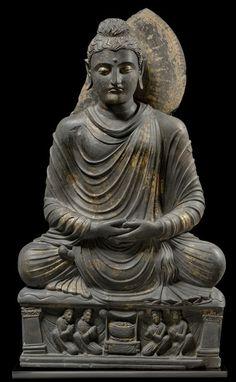 Pakistan - Seated Buddha, Gandhara, 3rd century AD