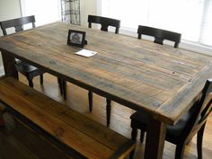 Furniture, DIY Rustic Farmhouse Kitchen Table Made From Reclaimed Wood With Bench And 4 Wooden Chairs With Black Leather Seats Ideas ~ Farmhouse Kitchen Table