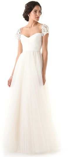 Reem Acra Layered Tulle Silk Wedding Gown with Crystal Appliqués