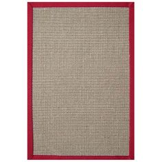 Acura Rugs Sisal Natural / Red Contemporary Rectangular Rug - Sisal Red-RE