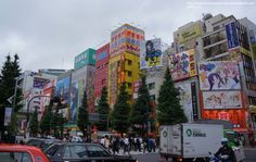 The busy street lined with shops in neon lights at Akihabara, the Electric Town of Tokyo, Japan.