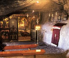 """Closer Up: Cave of the Apocalypse where John the Apostle wrote the Book of Revelation. """"I, John, am your brother and your partner in suffering and in God's Kingdom and in the patient endurance to which Jesus calls us. I was exiled to the island of Patmos for preaching the word of God and for my testimony about Jesus."""" -Revelation 1:9 (NLT)"""