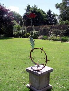 Steel/bronze and mosaic Garden Or Yard / Outside and Outdoor sculpture by artist Guy Portelli titled: 'Hope (bronze Remembrance Day Poppy Flower sculptures statue statuette)'
