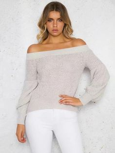 Stylish Vovo Knitting Off-the-shoulder Puff Sleeves Sweater Tops Source by Stylishvovo Bohemia Dress, Plus Dresses, Color Khaki, One Piece Swimwear, White Long Sleeve, Cardigans For Women, Casual Tops, Long Sleeve Sweater, Puff Sleeves