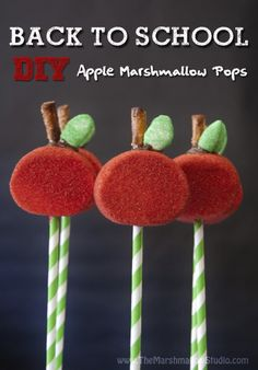 Back-to-school Apple Marshmallow Pops by TheMarshmallowStudio