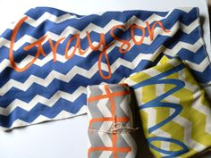 Personalized Toddler Blanket, Chevron, You Choose Color and Font, MonogrammedToddler Bedding. $59.65, via Etsy.