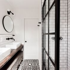 The True Meaning Of Gridscape Fixed Shower Screen Panel In Black With Clear Glass 203 - houseinspira Bathroom Goals, Bathroom Inspo, Bathroom Inspiration, Industrial Showers, Industrial Bathroom Design, Coastal Shower Doors, Tile Art, Tiles, Shower Screen
