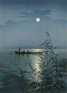 "Koho Shoda (Japanese ""Moonlit Sea"" ca color woodblock print Art Occidental, Art Asiatique, Art Japonais, Japanese Painting, Japanese Prints, Japan Art, Woodblock Print, Chinese Art, Moonlight"