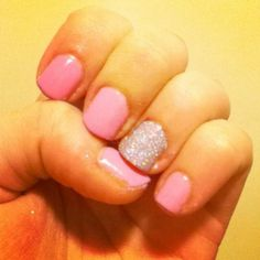 """My DIY gel nails with glitter. The color """"Go girl"""" with Plain silver glitter you can buy at sallys beauty supply."""