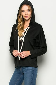 Black Lace Up Pullover Hoodie Top   #promocode #yuccie30p #fashion #newarrivals #yucciebaby #deal #deals