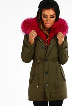 Score the ultimate winter wardrobe win in this amazing khaki fur trim parka! This khaki parka features a detachable bright pink faux fur trim, hood and zip fastening at the front. With pockets, layer this gorgeous khaki coat over a cosy knit and boots for Khaki Coat, Khaki Parka, Pink Faux Fur, Hooded Parka, Color Khaki, Winter Wardrobe, Fur Trim, Canada Goose Jackets, Winter Jackets