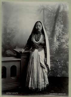 Vintage photo, 1865: A Nepalese woman in Darjeeling, a Himalayan city in the Indian state of West Bengal.