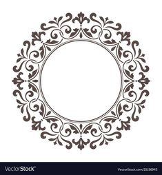 Decorative round frame for design template vector image on VectorStock Damask Stencil, Stencil Patterns, Stencil Designs, Swirl Design, Mandala Design, Round Design, Design Design, Vintage Typography, Vintage Logos