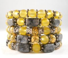 Bracelet Stack Yellow and Gray Stone and Glass by foreverandrea, $60.00