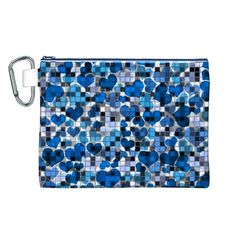 Hearts And Checks, Blue Canvas Cosmetic Bag (L)