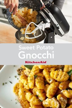 Make your next pasta night one to remember with this recipe for Sweet Potato Gnocchi. Mash the potatoes effortlessly with the KitchenAid® Stand Mixer. Potato Gnocchi Recipe, Sweet Potato Gnocchi, Gnocchi Recipes, Kitchenaid, Stand Mixer Recipes, Kitchen Aid Recipes, Sweet Potato Recipes, Easy Food To Make, Vegetarian Recipes