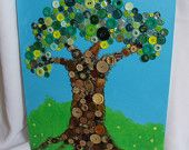 Button Art - Acrylic on 12 x 16 Canvas Panel with Vintage and Modern Buttons