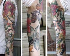 Botanical half sleeve by Katie Davis/Salvation Tattoo Gallery (Richmond, VA)