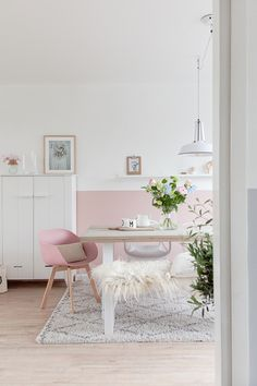 half painted walls decor, home office restyling, pink wall decor, pink living room Half Painted Walls, House Interior, Pink Interiors Design, Home, Living Room Wall, Pink Living Room, Pastel Living Room, Living Room Paint, Pink Wall Decor
