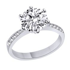 D/VVS1 Engagement Ring 2 Carat Round Cut 14k White Gold Bridal Jewelry #Gemdepot #SolitairewithAccents