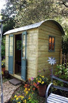 Shepherds hut garden shed Christopher Lisney Garden Ornaments Chelsea Flower Show 2009