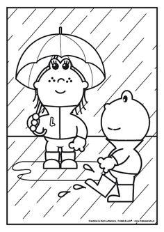 Het is herfst. Frokkie en Lola staan met hun laarzen, regenjas en paraplu in de regen. Een beetje regen vindt Frokkie helemaal niet erg.