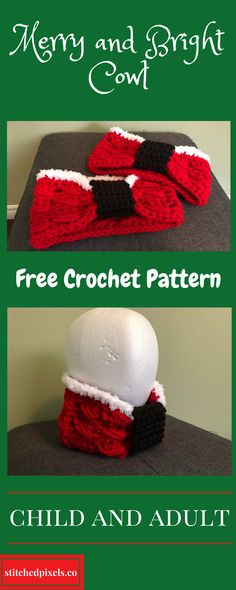 Use this free crochet pattern to make your own Merry and Bright Cowl. I have written the pattern for standard child and adult sizes, but you can make it any length or height you like.