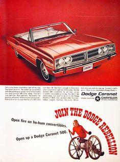Dodge Coronet 500 Convertible 1966 Rebellion - Mad Men Art: The 1891-1970 Vintage Advertisement Art Collection