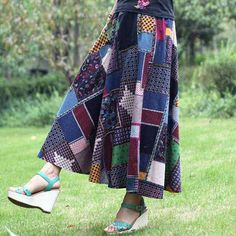 กระโปรงยาว แฟชั่นเกาหลีผ้าคอตตอนลินินแนววินเทจเอวยืดมีกระเป๋า นำเข้า สีน้ำเงิน - พร้อมส่งTJ7751 ราคา1150บาท