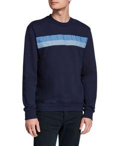 Slate & Stone Men's Striped Crewneck Knit Sweatshirt In Navy Slate Stone, Benetton, Crew Neck, Graphic Sweatshirt, Mens Fashion, Navy, Knitting, Sweatshirts, Long Sleeve