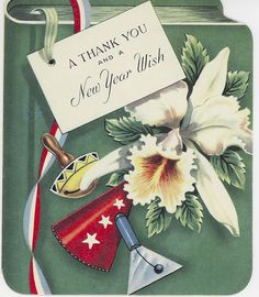 A thank you and a New Year wish. #vintage #New_Years #card