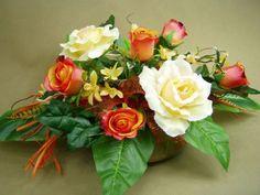 RÓŻE kremowo-rude 2861 STROIK NA GRÓB misa sztuczne kwiaty - zdjęcie 1 Ikebana, Container, Flowers, Plants, Design, Plant, Royal Icing Flowers, Flower