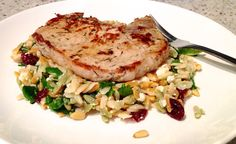 Pork Chop with Orzo and Cranberries.   Be creative with your food. Eating healthy doesn't have to be boring. Add nuts, dried fruit, fresh herbs, cheese, lime, or anything you can find to add texture, flavor, and color.  marklauren.com