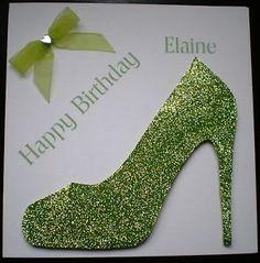 handmade+shoe+card | HANDMADE PERSONALISED GREEN DESIGNER SHOE BIRTHDAY CARD 18TH 21ST 30 ...