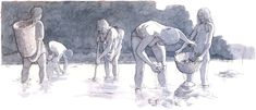 Late Mesolithic people of the  Ertebølle Culture gathering oysters by Flemming Bau