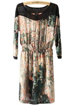 Multicolor Landscape Printing Patchwork Grenadine Collarless Chiffon Dress