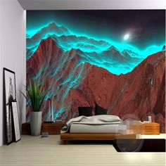 Goedkope Custom foto muurschildering 3d behang voor muren 3 d HD Night mountain bestraling vreemde groene natuur 3d grote behang roll, koop Kwaliteit   rechtstreeks van Leveranciers van China:      Custom 3d mural wallpapers Retro Grey Red Bar KTV leisure personalized Wall paper British Art 3d photo wallpaper fo