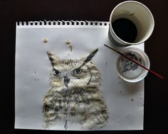 """Other pinner said """"My coffee got cold, so I made an owl with it."""" I say that's really cool! Dang...o.o"""